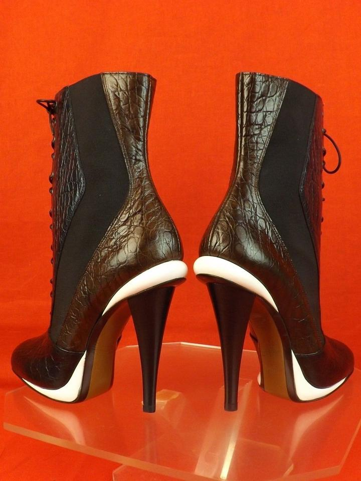 Boots Ankle Lace Victorian Fendi Croco Black Multicolor Brown Navy Booties Up Print q1anHwzv