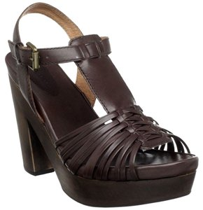 Corso Como Leather Sandal Strappy Boho Coffee Platforms