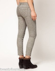 Free People People Gray Lace Print Crop Skinny Ankle Zipper Skinny Jeans