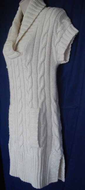 INC International Concepts Tunic Length Short Sleeves Shawl Collar Side Slits Sweater