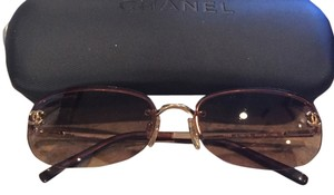 Chanel CHANEL Brown Rimless Sunglasses with Gold Frame