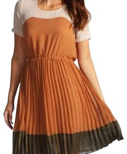 Other Polyester Color-blocking Pleated Cute Dress