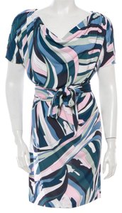 Emilio Pucci short dress Blue, Green, White, Multicolor Shortsleeve Print Logo Monogram Shift 12 46 L Large on Tradesy