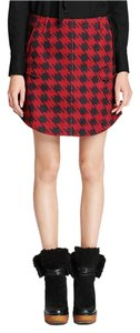 Coach Houndstooth Twill Skirt Red & Black