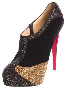 Christian Louboutin Black Bronze Leather Suede Black, Gold Boots