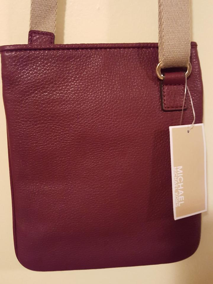 42beacade620f3 ... Michael Kors Jet Set Item Claret Burgundy Leather Cross Body Bag -  Tradesy ...