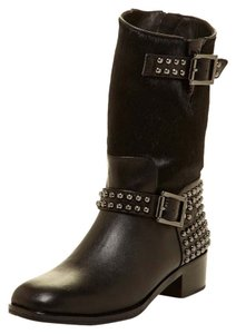 Vince Camuto Leather Calf Hair Studs Black Boots