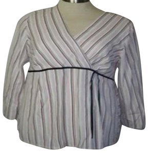 Motherhood Maternity TOP XL NWT MATERNITY BY MOTHERHOOD WHITE & PINKS STRIPED TIES IN BACK
