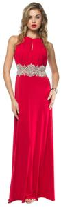 Red, Royal Bejeweled Waist Halter Neck Long Formal Dress