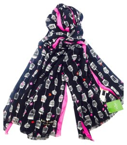 Kate Spade Kate Spade Black And White Birdcage With Hot Pink Trim Fringed Scarf New With Tags