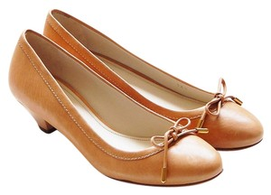 The Original Car Shoe Leather Kitten Ballerina Nude Flats