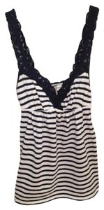 Abercrombie & Fitch Top Navy Blue and White