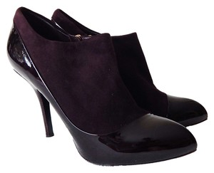 Louis Vuitton Suede Patent Leather Ankle Plum Boots