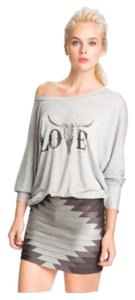 Haute Hippie Modal Graphic Love 3/4 Sleeve Draped Dolman Vintage Edgy Boho Bohemian Western Modern Casual Date Night Night Out T Shirt Gray