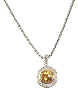 David Yurman DAVID YURMAN Petite Albion 8mm Orange Citrine Necklace Silver Diamond Pendant