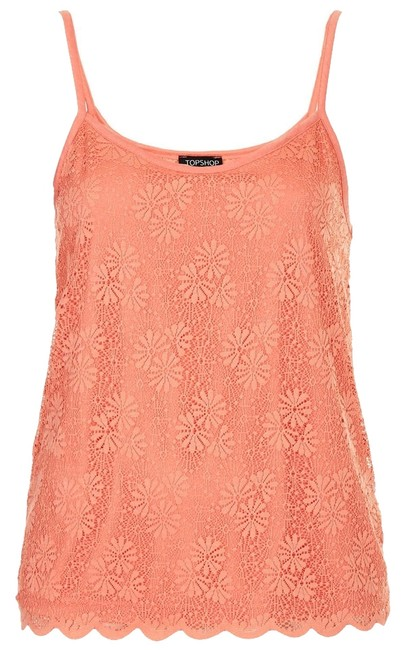 Item - Salmon/Coral Cropped Lace Tank Top/Cami Size 12 (L)