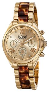 Burgi Womens Gold With Diamonds Swiss Multifunction Watch