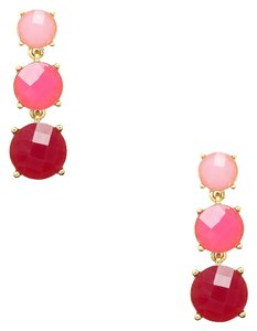 Kate Spade NEW Kate Spade New York Silver Smell The Roses Linear Pink Earrings 12k Gold
