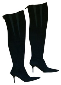 Narciso Rodriguez Pointed Toe black suede thigh high over the knee 9 1/2 Boots