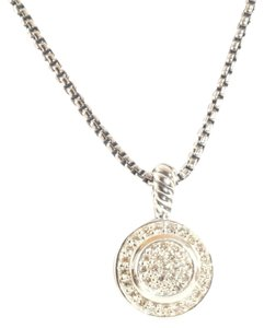 David Yurman DAVID YURMAN Petite Albion 8mm Circle Diamond Pendant Necklace Sterling Silver