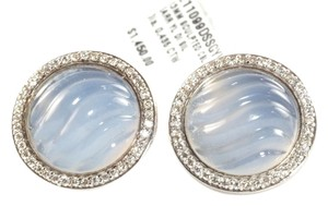 David Yurman David Yurman Silver Carved Blue Diamond Cable Button Earrings Sterling Sculpted