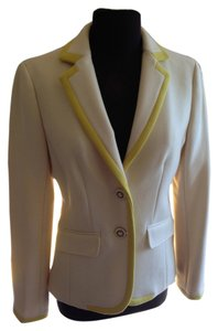 J.Crew Fitted Amazing Buttons cream with yellow piping Blazer