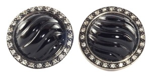 David Yurman David Yurman Silver Black Onyx Diamond Cable Button Earrings Sterling Sculpted