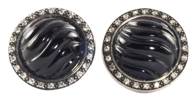 Item - Black Silver Onyx Diamond Cable Button Sterling Sculpted Earrings