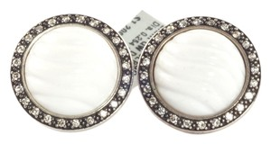 David Yurman David Yurman Silver White Quartzite Diamond Cable Button Earrings Sterling .925