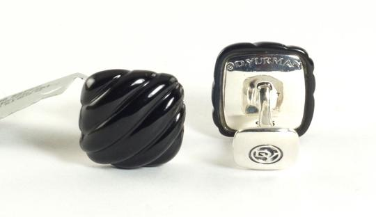 David Yurman David Yurman Mens Cufflinks Sterling Silver Black Onyx Sculpted Cable .925 New