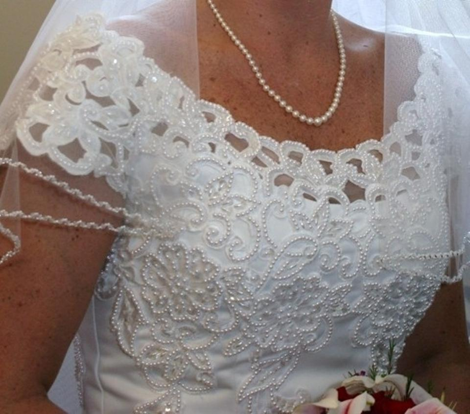 Used Plus Size Ball Gowns: Oleg Cassini White Ct8482 Formal Wedding Dress Size 22