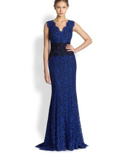 0ccd64150afb0 Tadashi Shoji Blue Lace Evening Gown Long Formal Dress Size 16 (XL ...