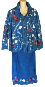 Denim & Co. Embroidered Denim skirt suit