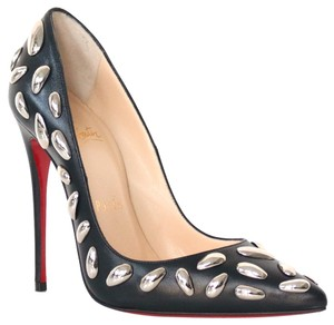 Christian Louboutin So Nail Black, Silver Pumps