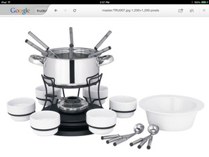 Trudeau Stainless Steel Lazy Susan 40-ounce Fondue Set
