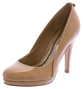 Elaine Turner Faye Leather Almond Toe Platform Nude Pumps
