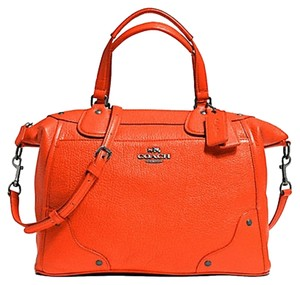 Coach Mickey Leather F34040 Wmatching Wallet F52645 In Satchel in ORANGE