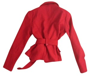 Forever 21 21 Red Bright Wool Short Longsleeve Button Belt Belted Crimson Small Medium Bright Red Jacket