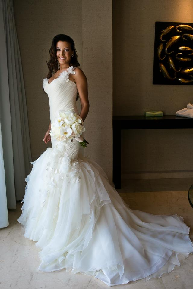 Mark Zunino Ivory Tulle Organza Silk Mermaid Gown Modern Wedding ...