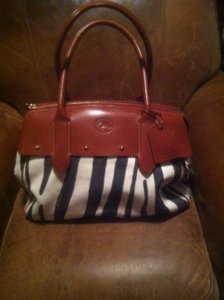 Dooney & Bourke black/cream/brown/brown leather Travel Bag