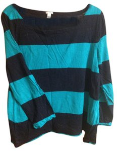 J.Crew Boatneck Coloblock Rayon Top Navy blue, teal