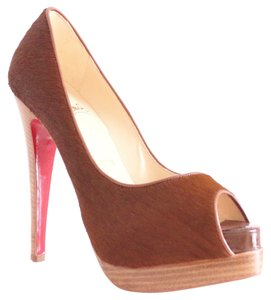 Christian Louboutin Altadama 140 Astrakhan Pony Hair Fur Exotic Louboutins Peep Toe Platform 35.5 5.5 Wooden Heel Brown, Bourdeaux Pumps