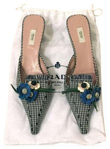 Prada Leather Pointed Toe Blue Mules