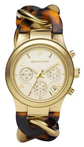 Michael Kors Michael Kors Mid-Size Yellow Gold Tone Stainless Steel and Tortoise Acetate Runway Watch