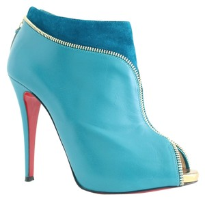 Christian Louboutin Col Zippe 120mm Shiny Calf Gold Leather Suede Zipper Pumps 39 9 Peacock, Turquoise Boots