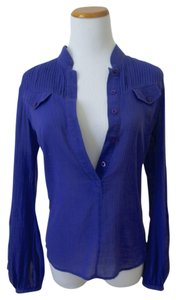 Guess By Marciano Crochet Cotton Party Casual Top Purple