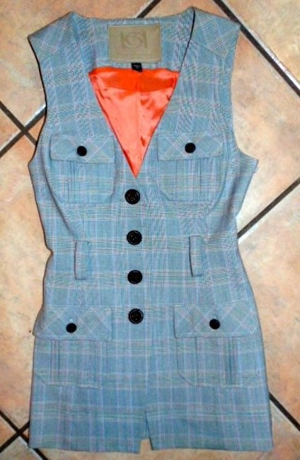 bebe Vest Size Xx-small P355 Top GRAY, ORANGE, WHITE, RED, BLUE PLAID