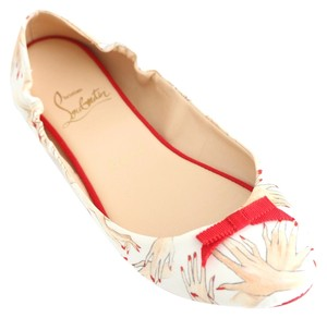 Christian Louboutin Air Beauty Loubi Slipper Ballerina Satin Manicure Louboutin Beauty 34 4 5 35 White, Red Flats