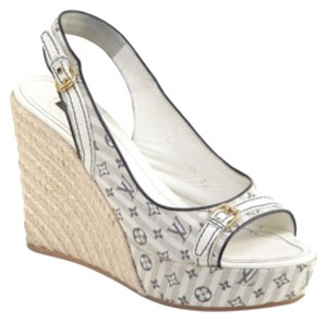 Louis Vuitton white beige jean fabric Wedges