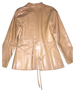 Fox Cream Tan Leather Jacket